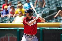 Logan Schafer (9) of the Nashville Sounds at bat against the Salt Lake Bees in Pacific Coast League action at Smith's Ballpark on June 22, 2014 in Salt Lake City, Utah.  (Stephen Smith/Four Seam Images)