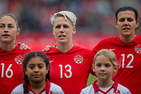CARSON, CA - FEBRUARY 9: Janine Beckie #16, Sophie Schmidt #13 and Christine Sinclair #12 of Canada during a game between Canada and USWNT at Dignity Health Sports Park on February 9, 2020 in Carson, California.