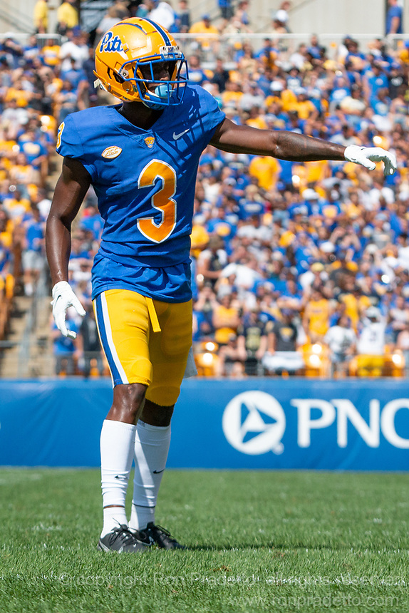 Pitt wide receiver Jordan Addison. The Western Michigan University Broncos defeated the Pitt Panthers 44-41 at Heinz Field, Pittsburgh, Pennsylvania on September 18, 2021.