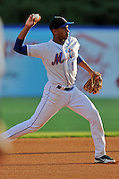 Kingsport Mets shortstop Amed Rosario #1 during a game against the Bristol White Sox at Hunter Wright Stadium on August 15, 2013 in Kingsport, Tennessee. The White Sox won the game 4-2. (Tony Farlow/Four Seam Images)