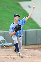 Wilmington Blue Rocks starting pitcher Sam Selman (31) warms up in the bullpen prior to the game against the Winston-Salem Dash at BB&T Ballpark on August 3, 2013 in Winston-Salem, North Carolina.  The Blue Rocks defeated the Dash 4-2.  (Brian Westerholt/Four Seam Images)