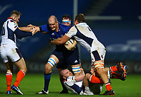 16th November 2020; RDS Arena, Dublin, Leinster, Ireland; Guinness Pro 14 Rugby, Leinster versus Edinburgh; Devin Toner (Leinster) is tackled by Nathan Chamberlain (Edinburgh), David Cherry (Edinburgh) and Andries Ferreira (Edinburgh)