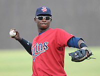 Infielder Miguel Sano (11) of the Elizabethton Twins, Appalachian League affiliate of the Minnesota Twins, prior to a game against the Bristol White Sox on August 18, 2011, at Joe O'Brien Field in Elizabethton, Tennessee. Sano was named to the 2011 Appalachian League Postseason All-Star Team. (Tom Priddy/Four Seam Images)