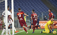 Football, Serie A: AS Roma - Cagliari calcio, Olympic stadium, Rome, December 23, 2020. <br /> Roma's captain Edin Dzeko (second left) celebrates after scoring during the Italian Serie A football match between Roma and Cagliari at Rome's Olympic stadium, on December 23, 2020.  <br /> UPDATE IMAGES PRESS/Isabella Bonotto