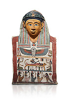 Ancient Egyptian cartonnage mummy mask with mummification scene, Pyolemaic Period, (332-30BC),  Egyptian Museum, Turin. Cat 2250. white background
