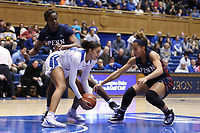 DURHAM, NC - NOVEMBER 29: Jade Williams #25 of Duke University beats Kennedy Suttle #4 of the University of Pennsylvania to a loose ball during a game between Penn and Duke at Cameron Indoor Stadium on November 29, 2019 in Durham, North Carolina.