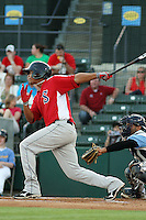 Salem Red Sox shortstop Xander Bogaerts #23 at bat during a game against the Myrtle Beach Pelicans at Tickerreturn.com Field at Pelicans Ballpark on May 11, 2012 in Myrtle Beach, South Carolina. Salem defeated Myrtle Beach by the score of 5-3 in 14 innings. (Robert Gurganus/Four Seam Images)