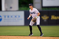 Tampa Tarpons shortstop Trey Sweeney (4) during a game against the Clearwater Threshers on August 10, 2021 at George M. Steinbrenner Field in Tampa, Florida.  (Mike Janes/Four Seam Images)