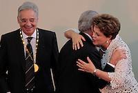 SAO PAULO, SP, 25 DE JANEIRO DE 2012 - ENTREGA MEDALHA 25 DE JANEIRO - ex presidnete Fernando Henrique Cardoso , Michel Temer e a presidente Dilma Rousseff durante cerimonia de entrega da Medalha 25 de Janeiro na sede da Prefeitura de Sao Paulo, na regiao central da capital paulista nessa quarta-feira, 25. FOTO: VANESSA CARVALHO - NEWS FREE.
