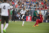 Commerce City, CO - Thursday June 08, 2017: Khaleem Hyland, Michael Bradley during a 2018 FIFA World Cup Qualifying Final Round match between the men's national teams of the United States (USA) and Trinidad and Tobago (TRI) at Dick's Sporting Goods Park.