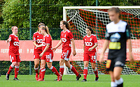 Zoe Van Eynde (14) of Standard  and Laura Miller (9) of Standard congratulate Davinia Vanmechelen (10) of Standard for the goal during a female soccer game between Standard Femina de Liege and Eendracht Aalst dames on the fourth matchday in the 2021 - 2022 season of the Belgian Scooore Womens Super League , Saturday 11 th of September 2021  in Angleur , Belgium . PHOTO SPORTPIX | BERNARD GILLET