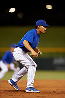 AZL Cubs 1 third baseman Fabian Pertuz (12) during an Arizona League game against the AZL D-backs on July 25, 2019 at Sloan Park in Mesa, Arizona. The AZL D-backs defeated the AZL Cubs 1 3-2. (Zachary Lucy/Four Seam Images)