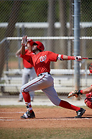 Washington Nationals Kelvin Gutierrez (11) follows through on a swing during a minor league Spring Training game against the St. Louis Cardinals on March 27, 2017 at the Roger Dean Stadium Complex in Jupiter, Florida.  (Mike Janes/Four Seam Images)