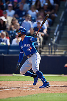 Toronto Blue Jays center fielder Kevin Pillar (11) follows through on a swing during a Grapefruit League Spring Training game against the New York Yankees on February 25, 2019 at George M. Steinbrenner Field in Tampa, Florida.  Yankees defeated the Blue Jays 3-0.  (Mike Janes/Four Seam Images)