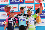 Race leader Mark Cavendish (GBR) Etixx-Quick Step wins Stage 2 of the 2015 Presidential Tour of Turkey, with Sacha Modolo (ITA) Lampre-Merida in 2nd place and Nicola Ruffoni (ITA) Bardiani-CSF in 3rd, running 182km from Alanya to Antalya. 27th April 2015.<br /> Photo: Tour of Turkey/Stiehl Photography/Mario Stiehl/www.newsfile.ie