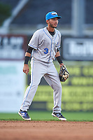 Hudson Valley Renegades shortstop Bill Pujols (3) during a game against the Batavia Muckdogs on August 1, 2016 at Dwyer Stadium in Batavia, New York.  Hudson Valley defeated Batavia 5-1.  (Mike Janes/Four Seam Images)