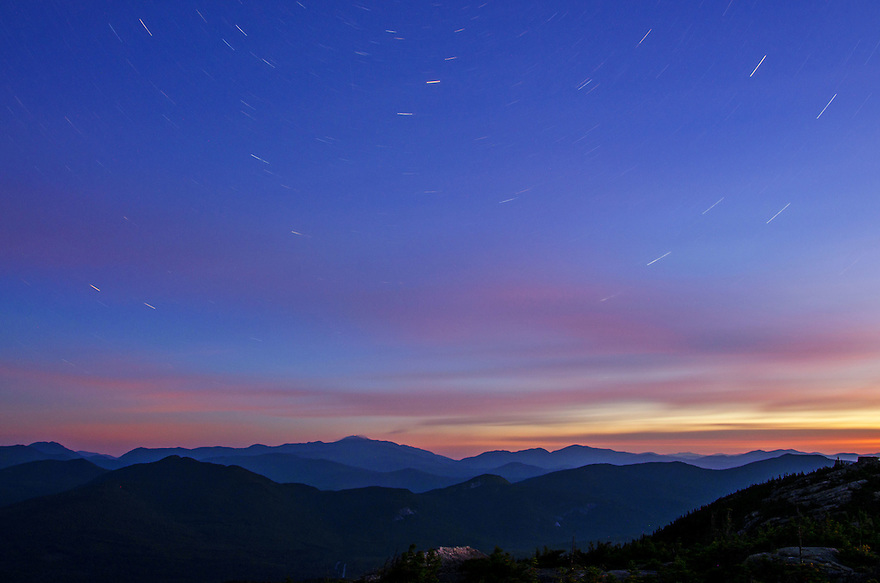 The sky wheels round overhead and the mountains are unmoved. An hour before nautical twilight in the White Mountains of New Hampshire.