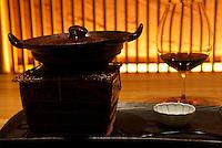 Wine and sukiyaki at the luxurious Kaichoro Ryokan, Ikako Onsen, Japan.