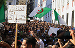 Algerian protesters march in an anti-government demonstration in the capital Algiers on October 04, 2019. Photo by Taher Boussoualim