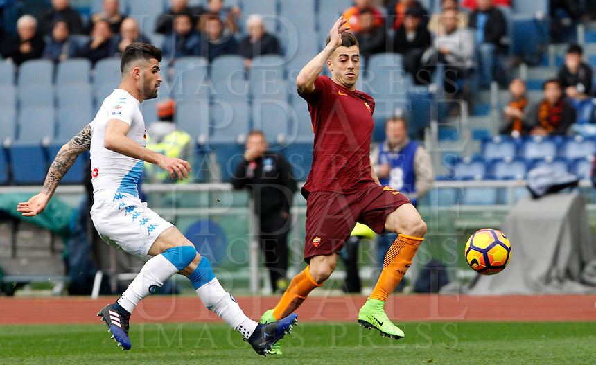 Roma's Stephan El Shaarawy, right, is challenged by Napoli's Elseid Hysaj during the Italian Serie A football match between Roma and Napoli at Rome's Olympic stadium, 4 March 2017. <br /> UPDATE IMAGES PRESS/Riccardo De Luca