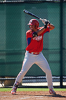 Philadelphia Phillies Darick Hall (22) during an Instructional League game against the Toronto Blue Jays on October 1, 2016 at the Carpenter Complex in Clearwater, Florida.  (Mike Janes/Four Seam Images)
