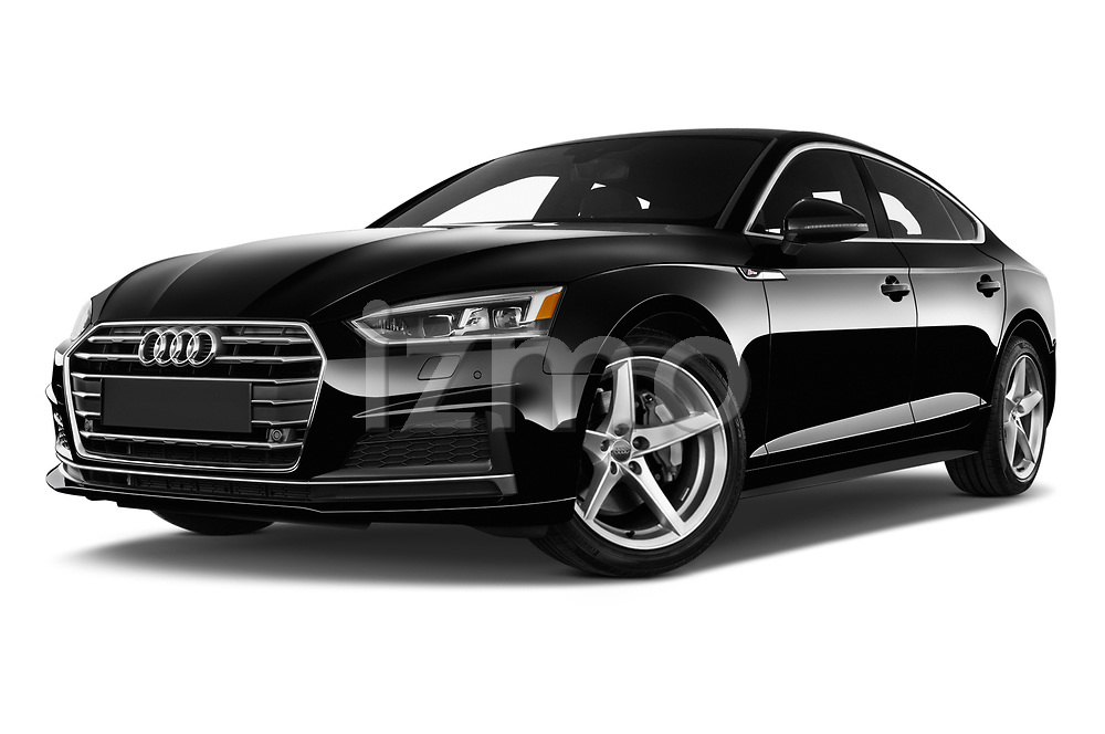 Stock pictures of low aggressive front three quarter view of 2017 Audi A5 Sportback Premium 5 Door Hatchback