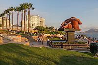 "Peru, Lima.  Love Park (Parque del Amor).  Sculpture ""The Kiss"" (El Beso) by Victor Delfin.  Miraflores Suburb."