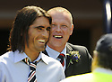 31/05/2009  Copyright  Pic : James Stewart.sct_jspa_42_rangers_v_falkirk.FALKIRK MANAGER JOHN HUGHES SHARES A JOKE WITH PEDRO MENDES BEFORE THE GAME.James Stewart Photography 19 Carronlea Drive, Falkirk. FK2 8DN      Vat Reg No. 607 6932 25.Telephone      : +44 (0)1324 570291 .Mobile              : +44 (0)7721 416997.E-mail  :  jim@jspa.co.uk.If you require further information then contact Jim Stewart on any of the numbers above.........
