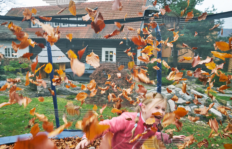 A girl  plays with autumn leaves.