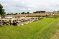 Cumbria, England, UK.  Birdoswald Fort, looking to the south of Hadrian's Wall.