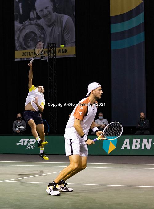 Rotterdam, The Netherlands, 2 march  2021, ABNAMRO World Tennis Tournament, Ahoy, First round doubles: Pierre-Hugues Herbert (FRA) / Jan-Lennard Struff (GER)<br /> Photo: www.tennisimages.com/henkkoster