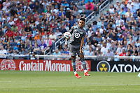 ST. PAUL, MN - AUGUST 21: Juan Agudelo #21 of Minnesota United FC blocks the ball during a game between Sporting Kansas City and Minnesota United FC at Allianz Field on August 21, 2021 in St. Paul, Minnesota.
