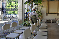 - Milano, maggio 2020, riapertura dei musei civici con tutte le misure di sicurezza dopo due mesi di blocco per l'epidemia di Coronavirus; GAM, Galleria di Arte Moderna, la caffetteria<br /> <br /> - Milan, may 2020, reopening of civic museums with all security measures after two months of lockdown for the Coronavirus epidemic; GAM, Gallery of Modern Art, the cafeteria