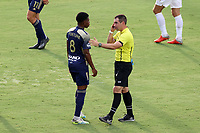 CARY, NC - AUGUST 01: Referee Kevin Broadley talks to Dre Fortune #8 during a game between Birmingham Legion FC and North Carolina FC at Sahlen's Stadium at WakeMed Soccer Park on August 01, 2020 in Cary, North Carolina.