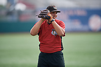 Tri-City ValleyCats Angel Macuare (14) during warmups before a NY-Penn League game against the Brooklyn Cyclones on August 17, 2019 at MCU Park in Brooklyn, New York.  Brooklyn defeated Tri-City 2-1.  (Mike Janes/Four Seam Images)