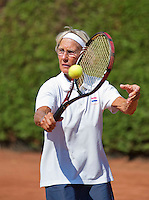 Netherlands, Amstelveen, August 23, 2015, Tennis,  National Veteran Championships, NVK, TV de Kegel,  Final lady's 70+, Marijke ter Heerdt-Poelman<br /> Photo: Tennisimages/Henk Koster