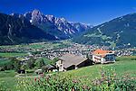 Austria, East-Tyrol, Gaimberg above Lienz: St. Bartholomew church and Lienz Dolomites | Oesterreich, Ost-Tirol, oberhalb Lienz, Gaimberg: St. Bartholomaeuskirche, Lienz und die Lienzer Dolomiten