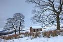 Barn near Shutlingsloe in winter conditions, Peak District National Park, UK. January.
