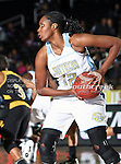 Southern Lady Jaguars guard Laneisha Stephens (12) in action during the SWAC Tournament game between the Southern Lady Jaguars and the Alabama State Hornets at the Special Events Center in Garland, Texas. Southern defeats Alabama State 58 to 39.