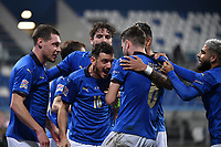 Jorginho of Italy celebrates after scoring a goal on penalty with Florenzi during the Uefa Nation League Group Stage A1 football match between Italy and Poland at Citta del Tricolore Stadium in Reggio Emilia (Italy), November, 15, 2020. Photo Andrea Staccioli / Insidefoto
