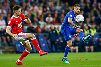 Joe Bennett of Cardiff City is challenged by Matty Cash of Nottingham Forest during the Sky Bet Championship match between Cardiff City and Nottingham Forest at the Cardiff City Stadium, Wales, UK. Saturday 21 April 2018