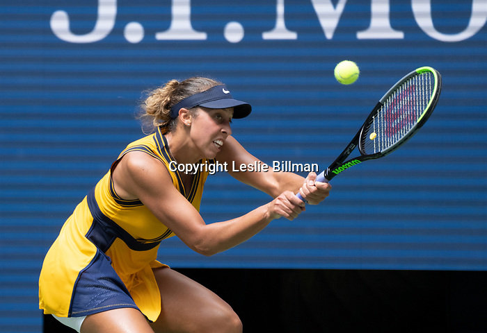 August 30,2021:   Madison Keys (USA) loses to Sloane Stephens (USA) 6-3, 1-6, 7-6, at the US Open being played at Billy Jean King Ntional Tennis Center in Flushing, Queens, New York.  ©Leslie Billman