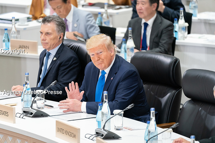 President Donald J. Trump waves to a fellow delegate Saturday, June 29 2019 at the G20 meeting on Addressing Inequalities and Realizing an Inclusive and Sustainable World in Osaka, Japan (Official White House Photo by Shealah Craighead)