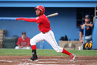 Batavia Muckdogs shortstop Yunier Castillo (7) during a game vs. the State College Spikes at Dwyer Stadium in Batavia, New York June 26, 2010.   State College defeated Batavia 9-8.  Photo By Mike Janes/Four Seam Images