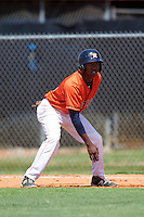 GCL Astros center fielder Andy Pineda (30) leads off first during the first game of a doubleheader against the GCL Mets on August 5, 2016 at Osceola County Stadium Complex in Kissimmee, Florida.  GCL Astros defeated the GCL Mets 4-1 in the continuation of a game started on July 21st and postponed due to inclement weather.  (Mike Janes/Four Seam Images)