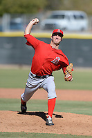 Los Angels Angels of Anaheim pitcher Dan Tobik (53) during an instructional league game against the Colorado Rockies on September 30, 2013 at Tempe Diablo Stadium Complex in Tempe, Arizona.  (Mike Janes/Four Seam Images)