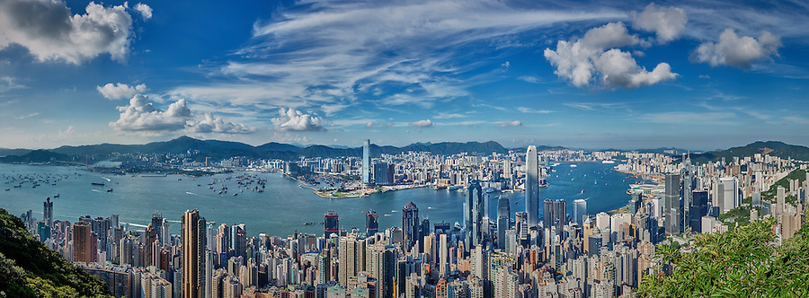 Afternoon view of Central and Kowloon from Lugard Road, the Peak.  A seven-image panorama looking North-East.