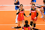 Ting Zhu (L) and Ni Yan of China (R) reacts gestures during the FIVB Volleyball Nations League Hong Kong match between China and Argentina on May 29, 2018 in Hong Kong, Hong Kong. Photo by Marcio Rodrigo Machado / Power Sport Images