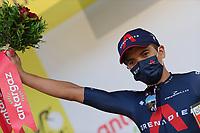 15th September 2020; Lyon, France; Tour De France 2020, La Tour-du-Pin to Villard-de-Lans, stage 16; Richard Carapaz Ecuador Ineos Grenadiers celebrates on the podium