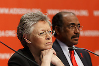 Françoise Barré-Sinoussi and Michel Sidibé at a press conference prior to the opening session of the 20th International AIDS Conference (AIDS 2014) at the Melbourne Convention and Exhibition Centre.<br /> For licensing of this image please go to http://demotix.com